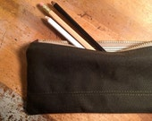 Waxed Canvas Pencil Case - Olive Green or Stone