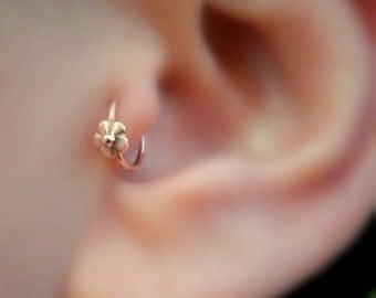 Tragus Earring - Helix Earring - Nose Ring Hoop - Cartilage Earring - 14K Solid Rose Gold Flower 7mm Inner Diameter Tragus Hoop Earring