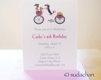 Dachshunds on Bicycle Birthday Party Invitations - Choose your color (set of 10)