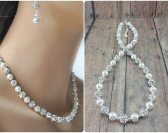 Pearl Wedding Jewelry, Bridal Jewelry Pearl Necklace, Wedding Necklace, Pearl Bridal Necklace, Bride Pearl Jewelry, Rhinestone Necklace