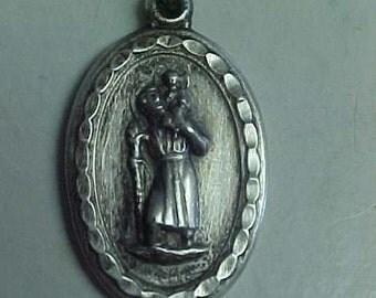 Saint Christopher Vintage Silver Religious Medal on 18 inch sterling silver rolo chain