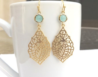 Gold Mint and Paisley Earrings. Mint Green Earrings. Light Mint Earrings. Ice Mint Earrings. Gold Dangle Earrings. Delicate. Dainty. Simple.