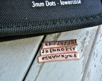 3mm LOWERCASE DOTS Font Steel Alphabet Stamp Set - Metal Stamps for Hand Stamped Jewlery - NEW Arrival