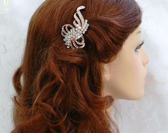 Rose Gold Wedding Hair Comb, 60% OFF SALE, Bridal Hair comb, Swarovski pearl and crystal, rhinestone, Kristen Bridal Comb