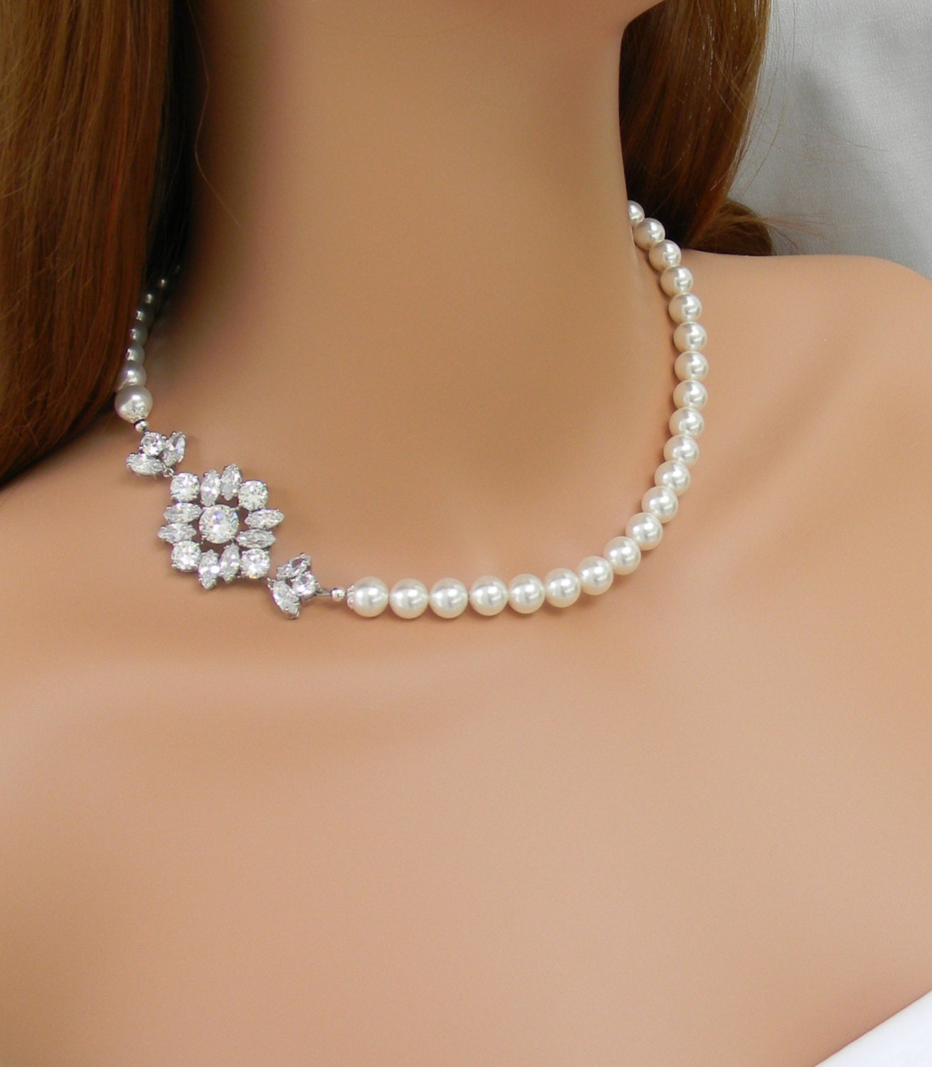 Bridal Jewelry SET Pearl Wedding Necklace Rose Gold Bridal