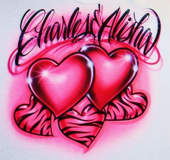 Airbrush T Shirt Hearts And Zebra Hearts Two Names Airbrush