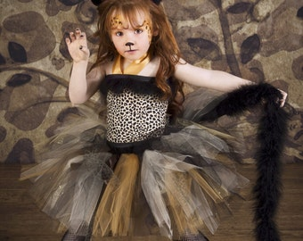 Cheetah Leopard Print Tulle Tutu Costume accented with Marabou and Cat Ears Headband Costume for Girls