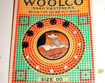 Vintage Woolco Snap Fasteners Sewing Buttons 1950s