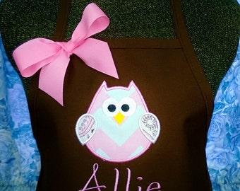 Personalized Kids Apron Chevron Owl Applique Monogrammed