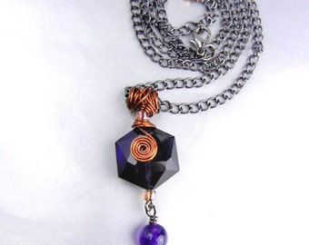 Purple pendant necklace of dichroic glass, genuine amethyst and copper on gun metal chain // OOAK