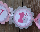Personalized Happy Birthday Banner -Pink Grey Elephant Banner -Birthday -Elephants -Choose 1 Elephant