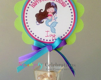Jeweled Mermaid Collection: Smash Cake Topper -Mermaid Birthday -Mermaid small centerpiece
