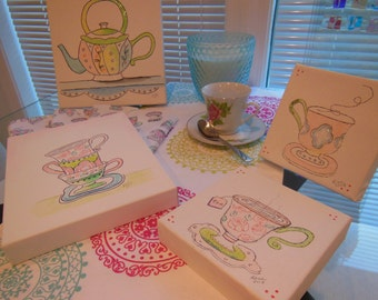 Watercolor Paintings Sale - Teacups Canvas Art, Set Of Two ~~ Whimsical Design * Pink, Lime Green, Emerald Green and Blue  ~~ Glitter Accent