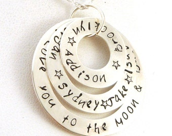 I Love You to the Moon and Back Mother's Necklace | Sterling Silver Mother's Jewelry | Hand Stamped Mother's Necklace