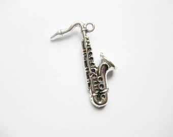 2 Saxophone Charms Pendants in Silver Tone - C1949