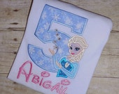 Custom Boutique Queen Elsa Birthday Applique t-shirt or bodysuit - machine embroidered - personalized