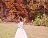 Long Sleeve Lace Wedding Dress with tulle, Michelle Style, Custom Made in your size