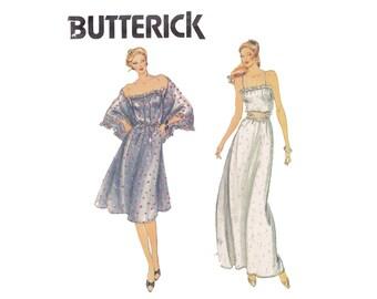 Boho Chic Maxi Dress Belt & Shawl Sizes 12 14 16 Bust 34 36 38 UNCUT sewing Pattern 70s 80s strapless dress Long Short Butterick 3737