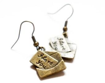 I Love You - Antiqued Brass Love Letter Dangle Earrings - C0001