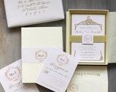 "Gold Elegant Boxed Wedding Invitations, Monogram Metallic Wedding Invitations - ""Antique Glitter"" Sample - NEW LOWER PRICE!"