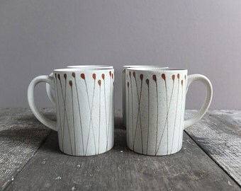 Vintage Hand-Painted Speckled Mugs / Coffee Cups