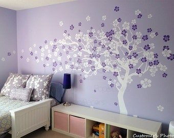Flower Tree Wall Decal Floral Decals Girl's Decal Baby Room Decal- Cherry Blossom Tree (83inch H) -Designed by Pop Decors