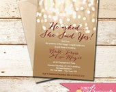 Engagement Party Invitation - Printable DIY Invite - Choose Your Fonts - Couples Shower, Bridal Shower, Weddings - Bokeh, Champagne, Bubbly