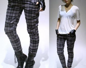 Street Chic Punk Motorcycle Rider Armor Zipper Insert Skinny Plaid Tartan Ankle Pants