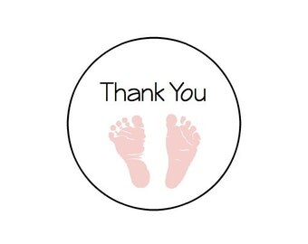 Thank You Baby Shower - Baby Feet - Kraft or White round labels/seals - 1""