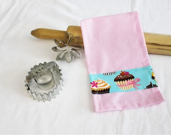 Retro Teal Cupcakes Child Size Toy Dish Towel for pretend play