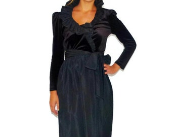 Vintage 80s R & K Originals Black Velour and Tafetta Belted Long Sleeve Evening Dress, Size Small-Medium S-M