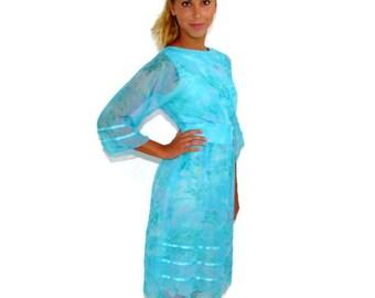 Vintage Turquoise Dress,  60s Blue Dress, Summer Dress, Bridal Shower, Size Small 2-4