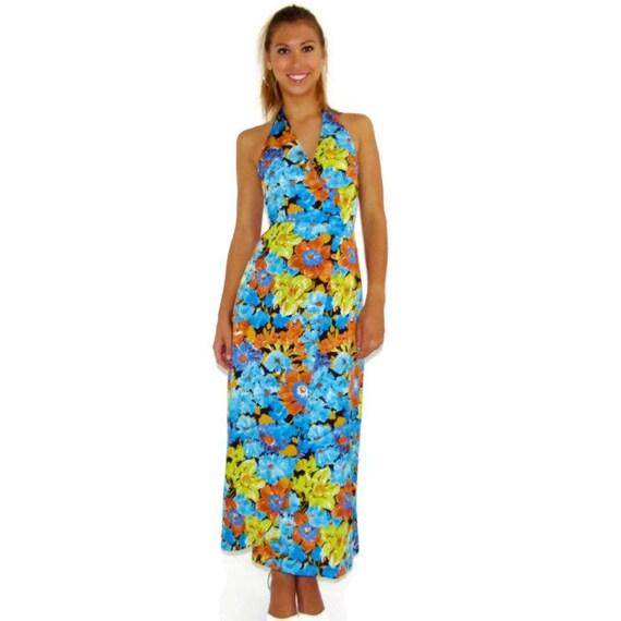 Vintage Halter Maxi Dress, 60s Italian Dress, Summer Dress, Beach Dress, Size Extra Small - Small XS - S