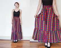 Vintage 1970s Skirt - Cotton Multicolor Full Length Ruffle Maxi Skirt 70s - Extra Small