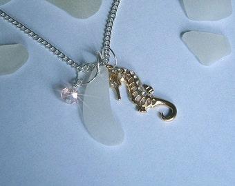 Seahorse necklace - Sea glass jewelry - beach sea glass necklace.