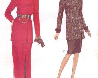 1990s Womens Tunic & Skirt Very Easy Very Vogue Sewing Pattern 8780 Size 6 8 10 Bust 30 1/2 to 32 1/2 Uncut