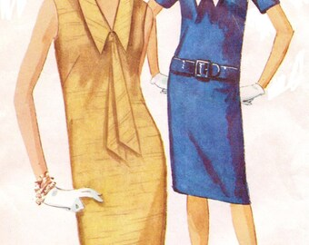1960s Womens One Piece Sleeveless Dress with Detachable Collar Simplicity Sewing Pattern 5410 Size 16 Bust 36 Vintage Sewing Patterns