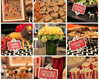 Vintage Circus Party Labels - Printable Decorations - Tags, Buffet Cards