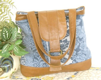 Recycled Leather & Denim Tote Bag - Upcycled in Caramel Brown and Floral Denim