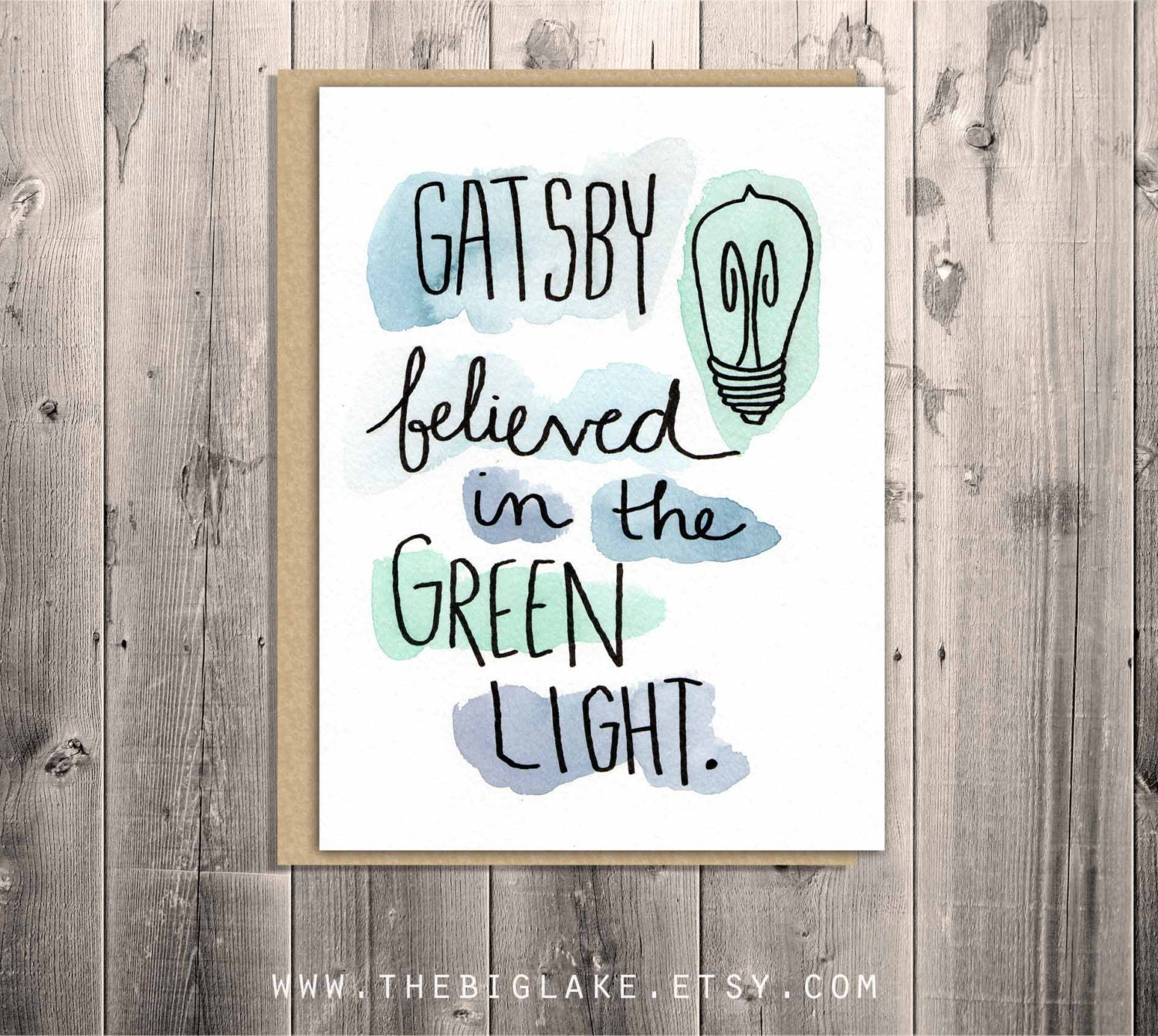 Green Light In The Great Gatsby Quotes: Great Gatsby Greeting Card Literature Book Themed Quote