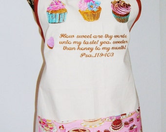 "Kitchen Apron Embroidered Cupcakes ...""Thy Word is Sweeter than Honey..."""