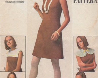 1968 Misses' Dress With Detachable Collars Simplicity 8060 Size 14 Bust 36