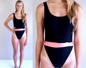 vtg 90s black CUT OUT SIDES neon Swimsuit xs hot coral bathing suit swimwear one piece
