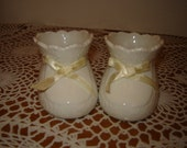 Sweet VIntage White Baby Boy / Girl / Ceramic Booties / Yellow Bow/ Nursery Decor / Gift