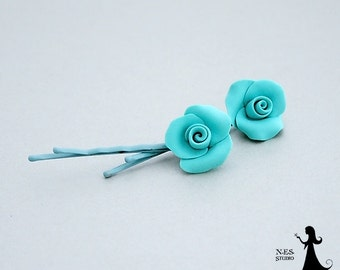 Teal rose Bobby pins - cute flower girl hair pins - 2pcs - wedding accessories - teal Roses hair piece - jewelry Israel