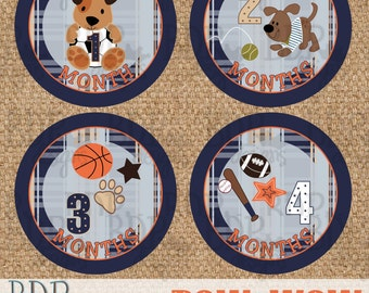"""Bow Wow Onesize Month Stickers - 4"""" diameter - INSTANT DOWNLOAD"""