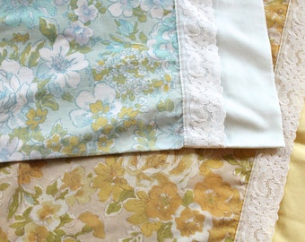 Yellow Blue Floral Lace Trim Percale Pillowcase Pair