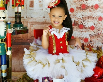 Christmas White, Red and  Golden glamour tutu dress