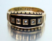 Antique Victorian (1888) Widows Mourning Black Enamel and Diamond Wedding Band 15K