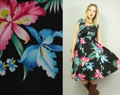 70s/80s - Black - Tropical Floral - Ruche Fitted Waist - Bow Straps - Full Skirt - Sleeveless - Sun Dress